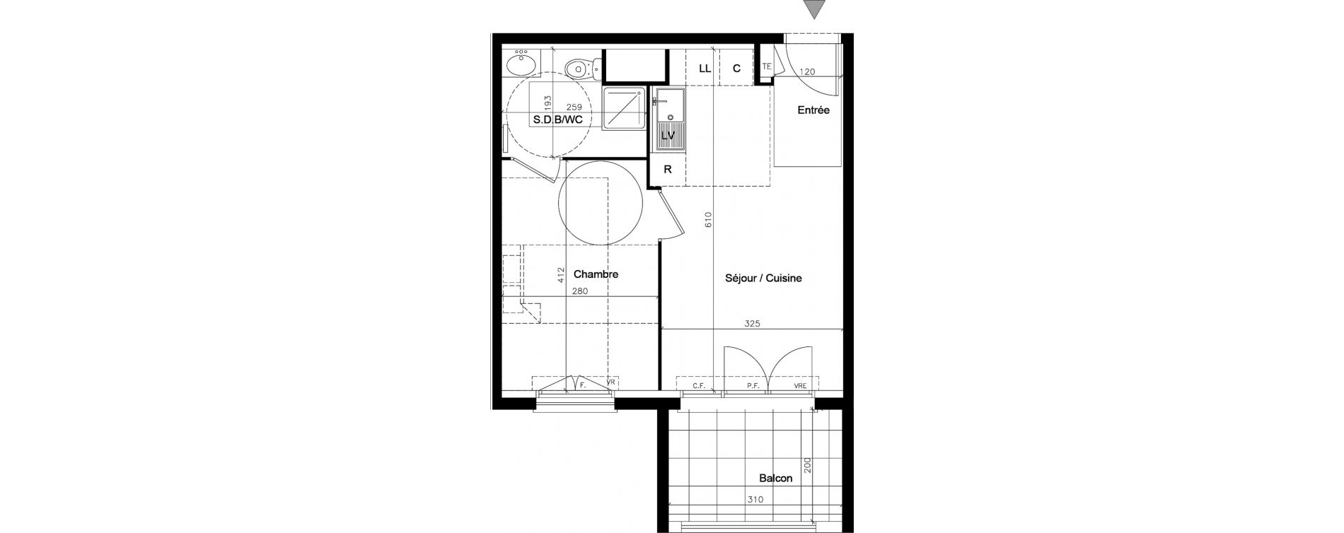 Appartement T2 de 35,85 m2 au Muy Saint roch - le muy