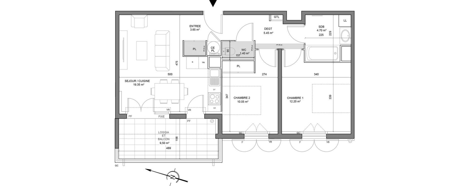 Appartement T3 de 56,80 m2 à Puget-Sur-Argens Centre
