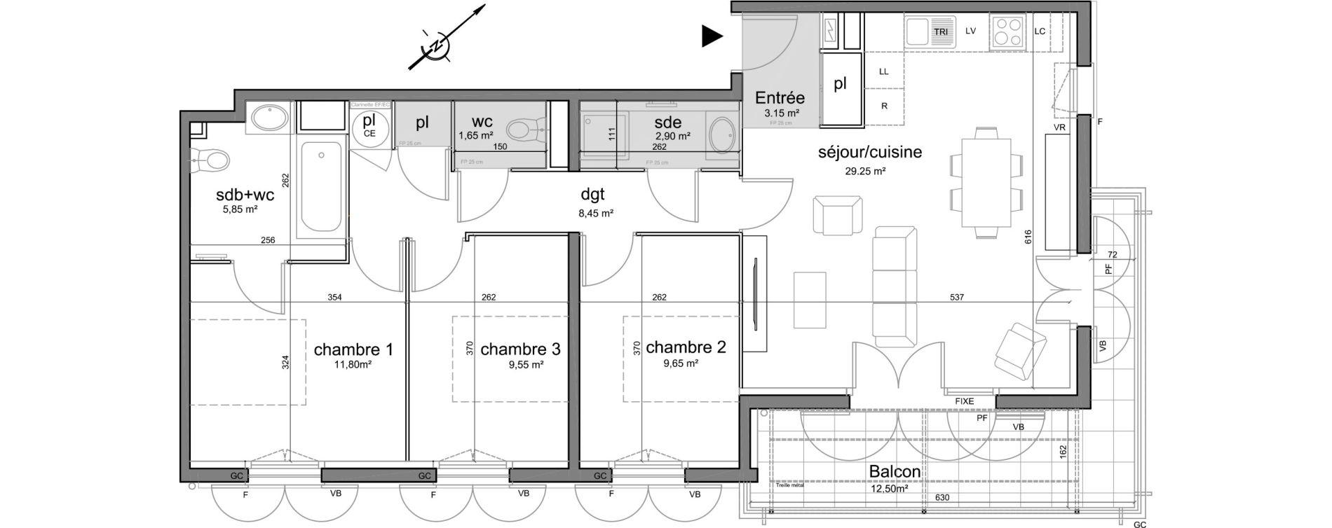 Appartement T4 de 82,25 m2 à Puget-Sur-Argens Centre