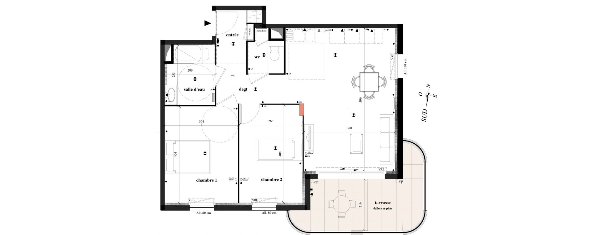 Appartement T3 de 62,30 m2 à Toulon Le faron