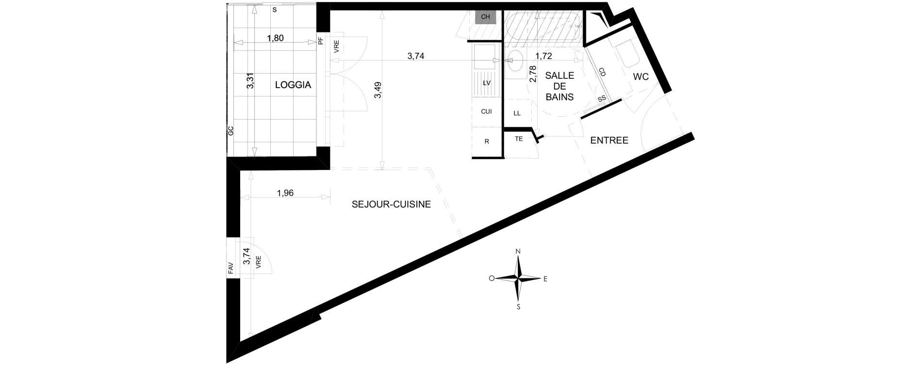 Studio de 38,06 m2 à Toulon Saint jean du var