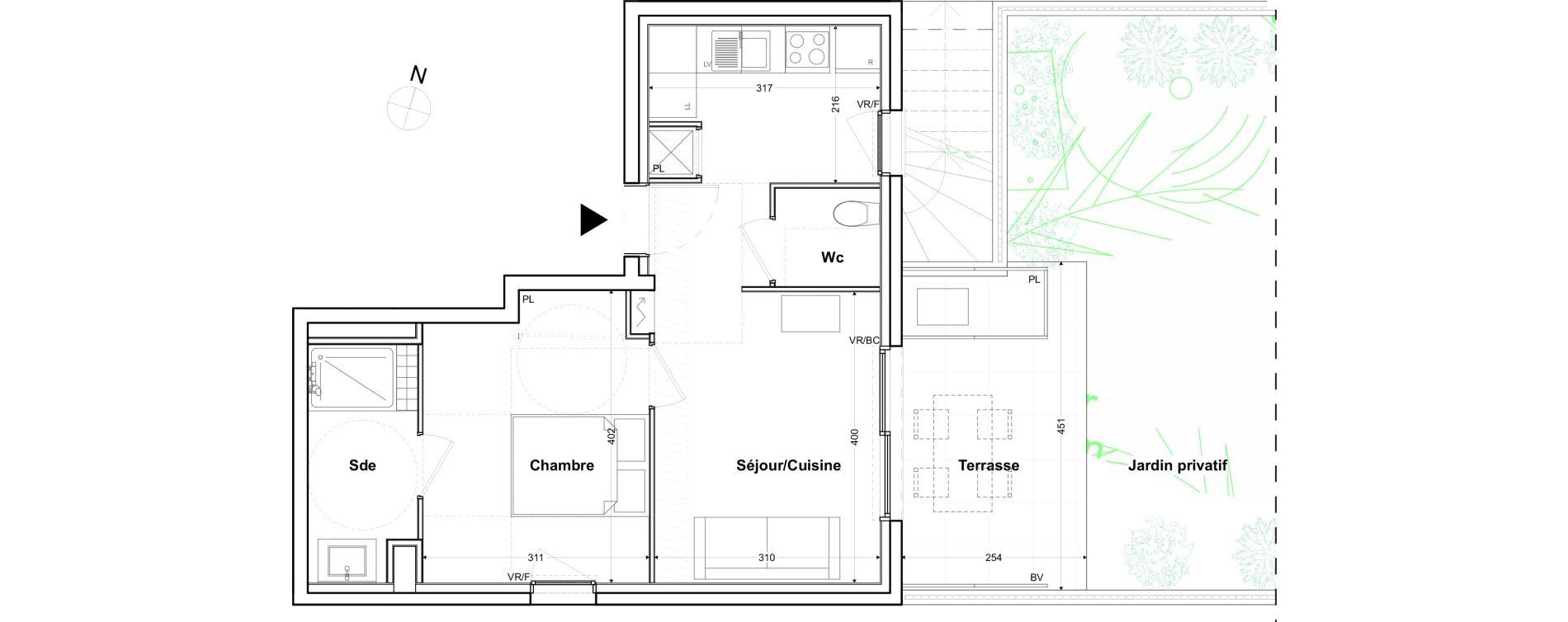 Appartement T2 de 39,88 m2 à Toulon Cap brun