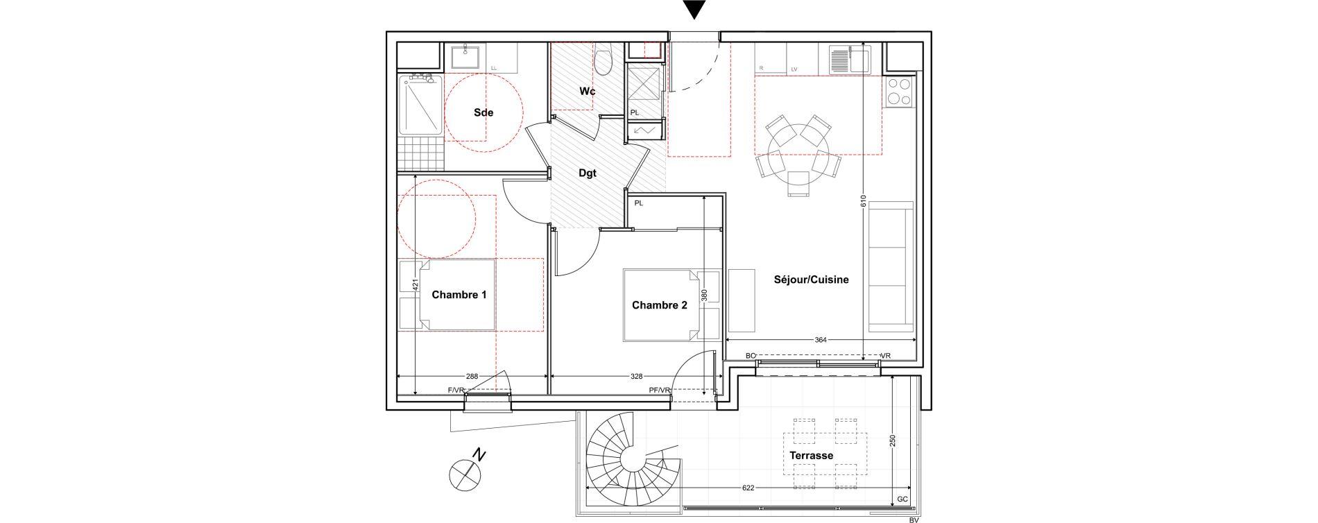 Appartement T3 de 61,76 m2 à Toulon Cap brun