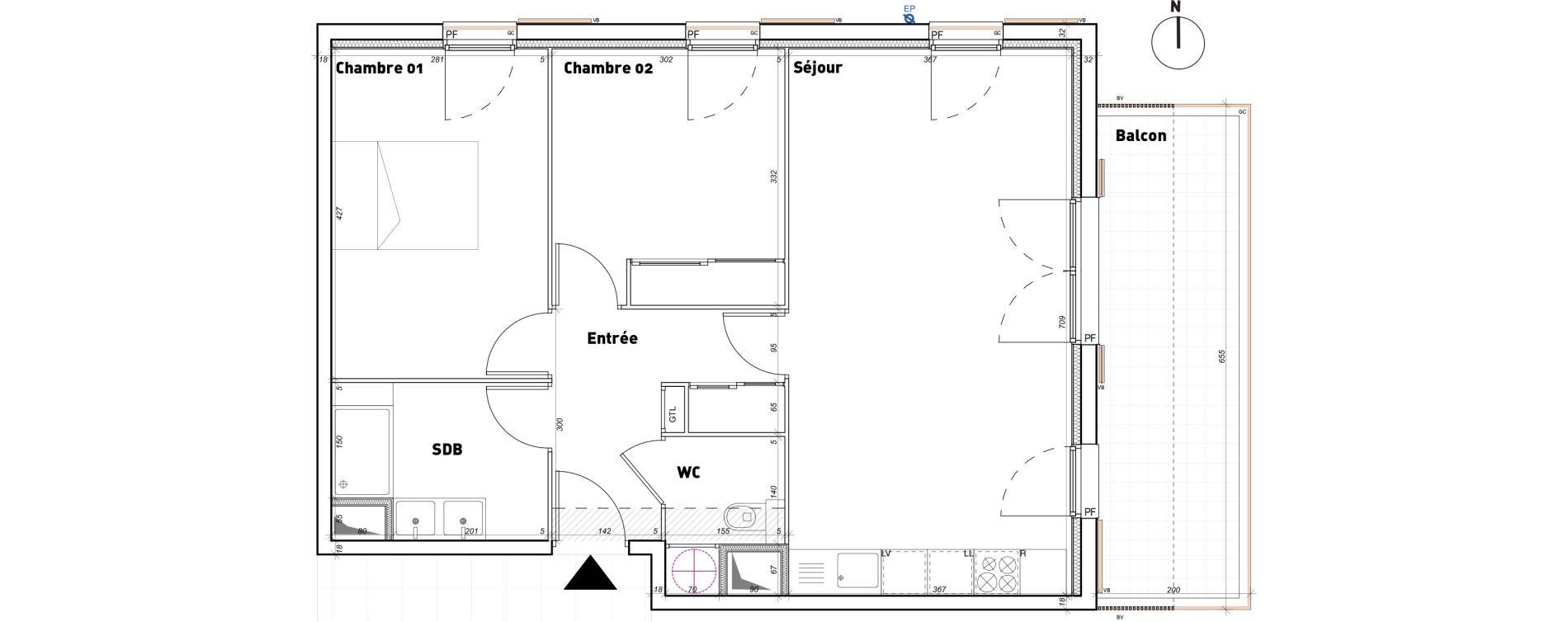 Appartement T3 de 62,50 m2 à Toulon Les bonnes herbes
