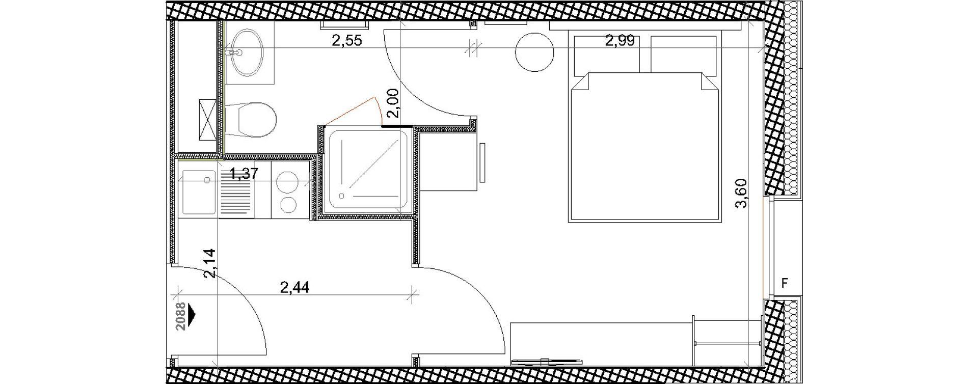 Appartement T1 meublé de 20,66 m2 à Toulon Centre