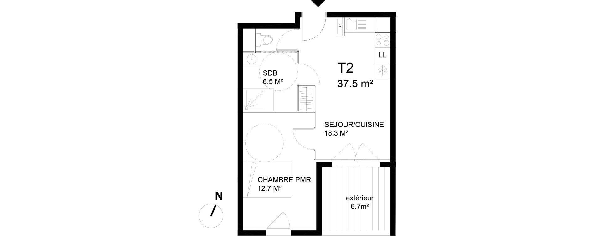 Appartement T2 de 37,50 m2 à Avignon Rocade sud